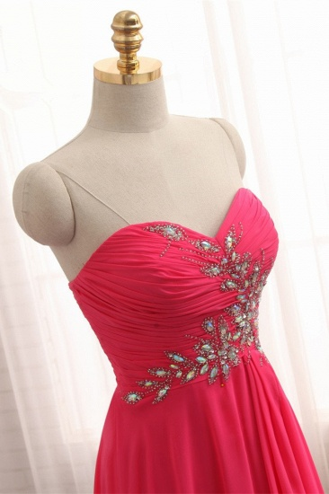 Chic Strapless Sweetheart Watermelon Prom Dresses A-Line Ruffles Crystals Evening Dresses Online_7