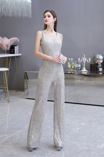 Stunning Sequins V-Neck Sleeveless Jumpsuit Event Party Gowns On Sale_9