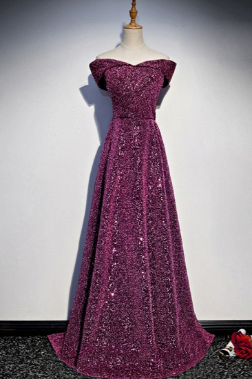 Sparkly Sequined Off-the-Shoulder Prom Dresses Sweetheart Sleeveless A-Line Evening Dresses On Sale_1