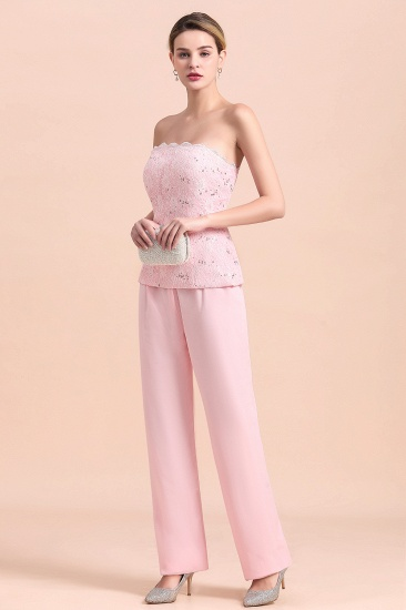 Elegant Strapless Appliques Mother of Bride Jumpsuit with Long Sleeves Wraps_9