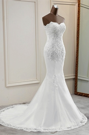 BMbridal Chic Strapless Lace Appliques White Mermaid Wedding Dresses with Beadings Online_4