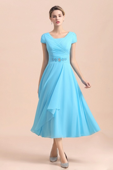 Blue Short Sleeves Chiffon Mother of the Bride Dress Tea-Length Online_7