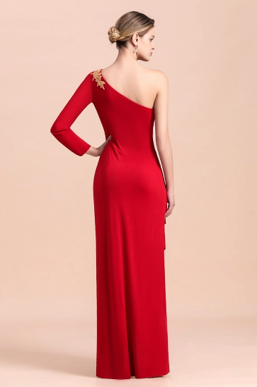 Chic One-Shoulder Long Sleeves Ruffle Mother of Bride Dresses with Appliques_3
