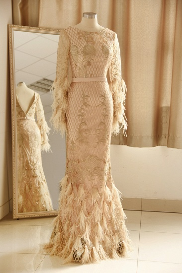 Glamorous Jewel Lace Appliques Prom Dresses Long Sleeves Mermaid Formal Dresses with Fur