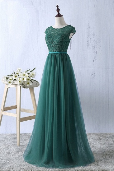 Elegant Dark Green Tulle Jewel Prom Dresses Sleeveless with Appliques Online_4