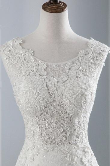 BMbridal Glamorous Jewel Sleeveless Rhinestone White Mermaid Wedding Dresses with Appliques_6