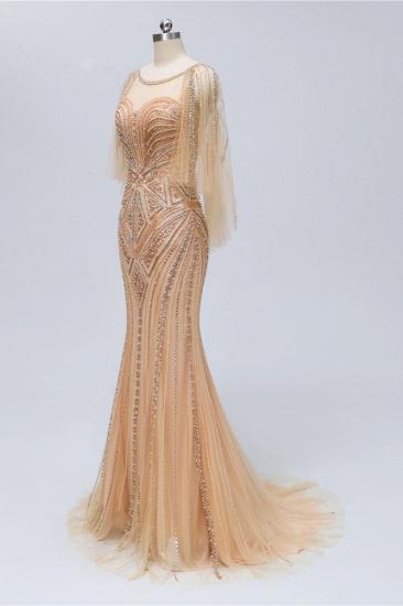 Elegant Tulle Beadings Gold Mermaid Prom Dresses Short Sleeves Rhinestones Evening Dresses Online_4