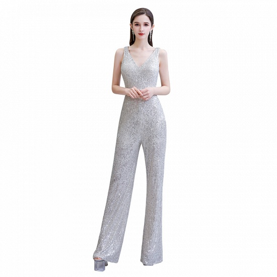Stunning Sequins V-Neck Sleeveless Jumpsuit Event Party Gowns On Sale_2