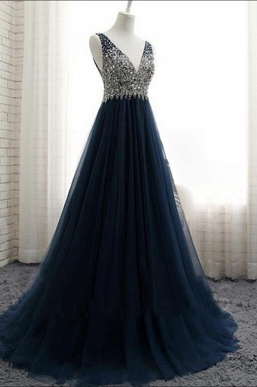 Affordable Dark Navy Tulle V-Neck Prom Dresses Ruffle Appliques beadings Party Dresses On Sale_4