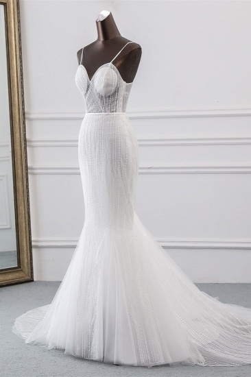 BMbridal Sexy Tulle Spaghetti Straps Mermaid White Wedding Dresses with Rhinestones Online_4