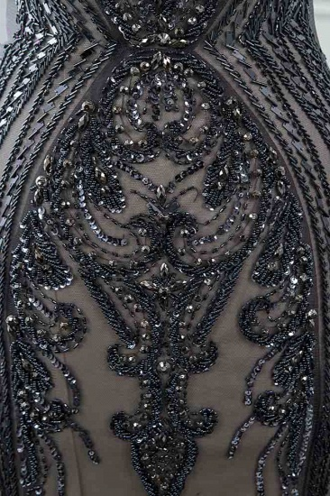 Glamorous Jewel Black Mermaid Prom Dresses with Appliques Rhinestones_6