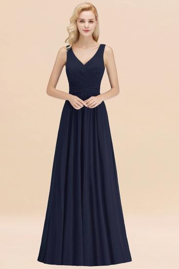 Modest Sleeveless V-Neck Long Chiffon Bridesmaid Dress Online with Ruffle_28