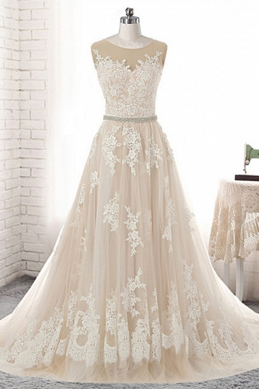 BMbridal Glamorous Creamy Tulle Round Neck Long Wedding Dress White Lace Applique Bridal Gowns On Sale_1