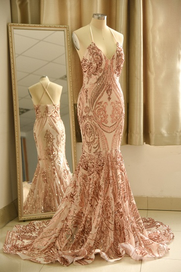 Sexy V-Neck Rose Gold Prom Dress Mermaid Long Sequins Evening Party Gowns_8