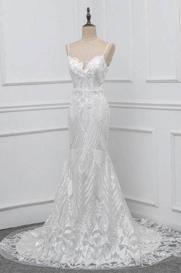 Chic Spaghetti Straps V-Neck White Wedding Dresses Appliques Sleeveless Bridal Gowns On Sale_4
