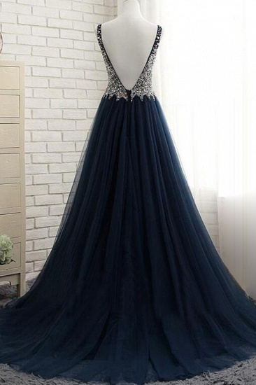 Affordable Dark Navy Tulle V-Neck Prom Dresses Ruffle Appliques beadings Party Dresses On Sale_3