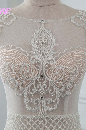 Sexy Jewel Sleeveless Chiffon Wedding Dresses See Through Top Bridal Gowns On Sale_5