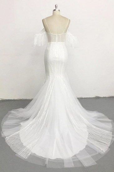 BMbridal Stylish Sleeveless V-Neck Ivory Wedding Dresses Spaghetti Straps Pearls Bridal Gowns On Sale_3