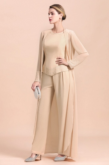 Champagne Long Chiffon Mother of the Bride Dress Two Pieces With Jacket_4