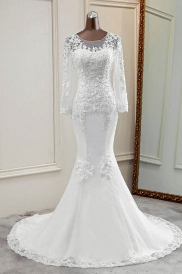 Elegant Jewel Lace Mermaid White Wedding Dresses Long Sleeves Appliques Bridal Gowns