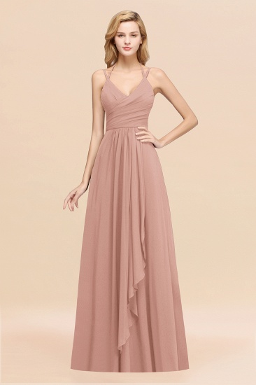 Affordable Chiffon Burgundy Bridesmaid Dress With Spaghetti Straps_6