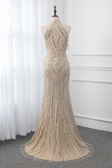 Gorgeous High-Neck Sleeveless Mermaid Prom Dresses with Rhinestoes Online_3
