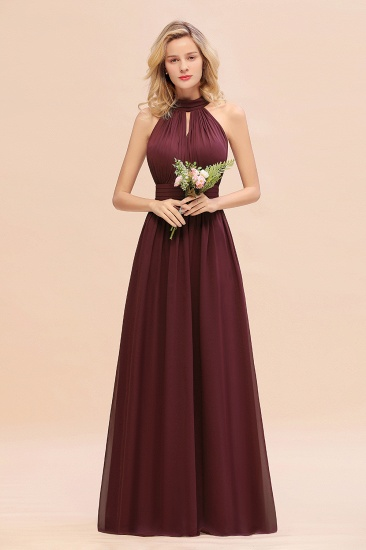 Glamorous High-Neck Halter Bridesmaid Affordable Dresses with Ruffle_10