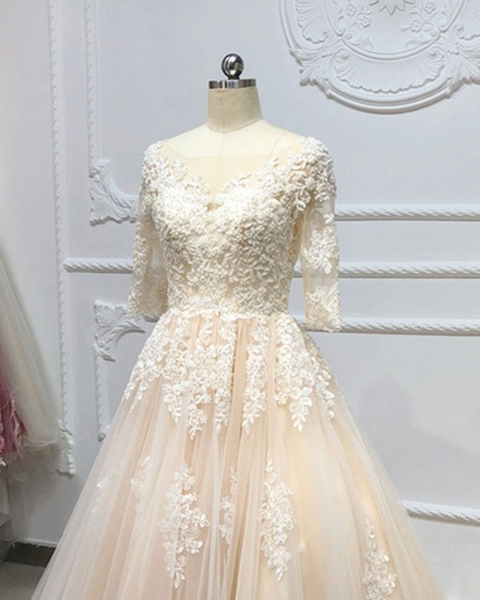 Gorgeous Champagne Tulle Half Sleeve Long Wedding Dress White Lace Applique Bridal Gowns On Sale_5