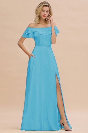 Exquisite Off-the-shoulder Slit Mint Green Bridesmaid Dress With Pockets_24