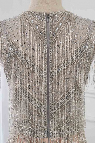 Luxury V-Neck Silver Mermaid Prom Dresses with Crystals On Sale_6