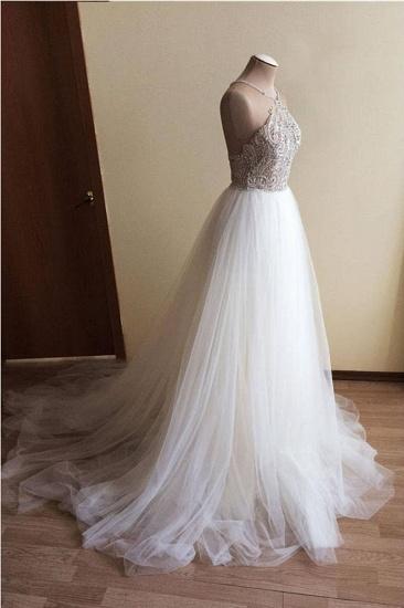BMbridal Glamorous White Tulle Crystal Beaded Wedding Dress Halter Seeveless Bridal Gowns On Sale_3