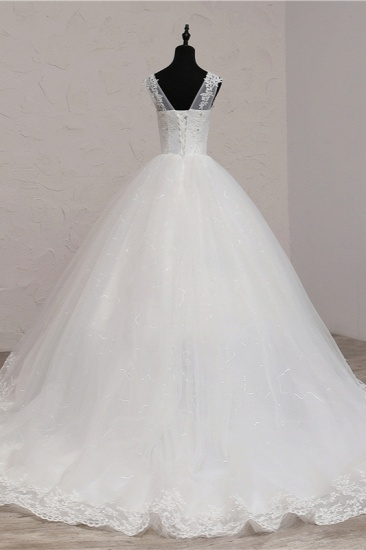 BMbridal Ball Gown V-Neck White Tulle Wedding Dresses Sleeveless Lace Appliques Bridal Gowns with Beadings_3