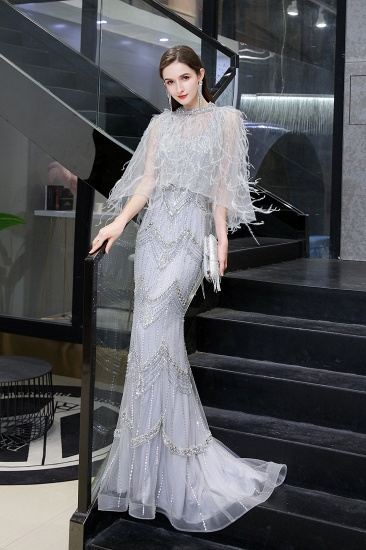 Luxurious V-Neck Mermaid Beadings Prom Dress Long With Scarf_8