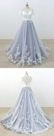 BMbridal AffordableBlue Gray Tulle Ivory Lace Wedding Dress Short Sleeve Beach Bridal Gowns On Sale_5