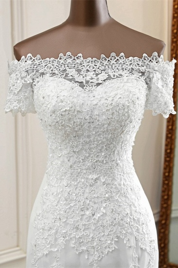 Gorgeous Off-the-Shoulder Lace Mermaid Wedding Dresses Short Sleeves Rhinestons Bridal Gowns_6