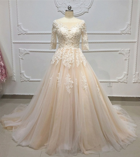 Gorgeous Champagne Tulle Half Sleeve Long Wedding Dress White Lace Applique Bridal Gowns On Sale_4