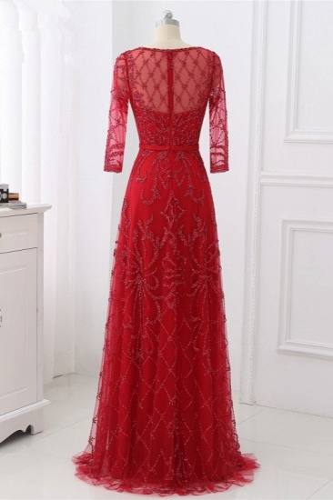 Glamorous Red Tulle Jewel Appliques Prom Dresses Long Sleeves with Rhinestones On Sale_3
