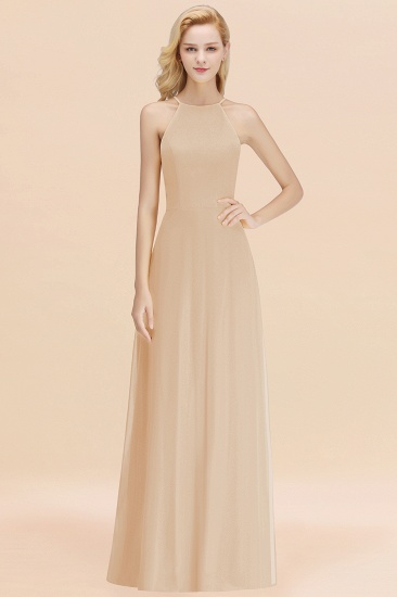 Modest High-Neck Yellow Chiffon Affordable Bridesmaid Dresses Online_14
