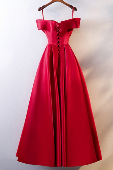 Simple Off-the-Shoulder Satin Red A-Line Prom Dresses Sleeveless Ruffles Evening Dresses Online_3