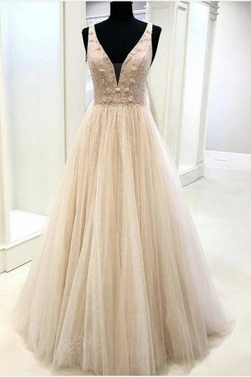 Sexy V-Neck Sleeveless Tulle Prom Dress Long Evening Gowns Online_3