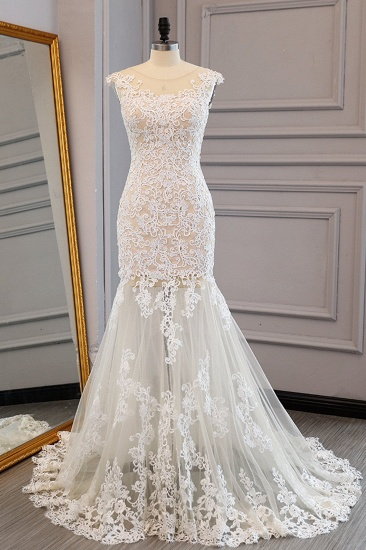 Elegant Ivory Tulle Long Mermaid Wedding Dress Lace Appliques Sleeveless Bridal Gowns On Sale_1