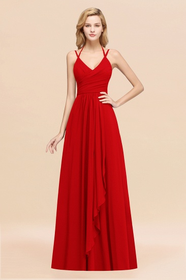BMbridal Affordable Chiffon Burgundy Bridesmaid Dress With Spaghetti Straps_8