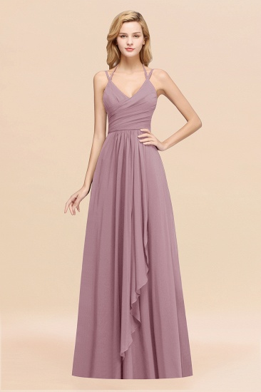 BMbridal Affordable Chiffon Burgundy Bridesmaid Dress With Spaghetti Straps_43