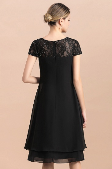 BMbridal Chic Black Cap Sleeve Mother of Bride Dress Chiffon Short Wedding Party Gowns_8