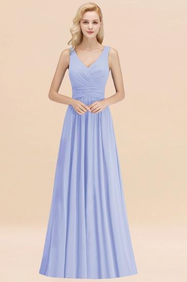 Modest Sleeveless V-Neck Long Chiffon Bridesmaid Dress Online with Ruffle_22