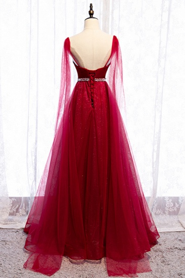 Stunning Spaghetti Straps Tulle Burgundy Prom Dresses V-Neck Sleeveless Sequins Evening Dresses Online_3