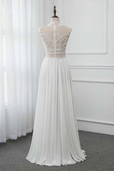 BMbridal Chic Jewel Chiffon Ruffle White Wedding Dresses Lace Top Sleeveless Bridal Gowns with Pearls_3