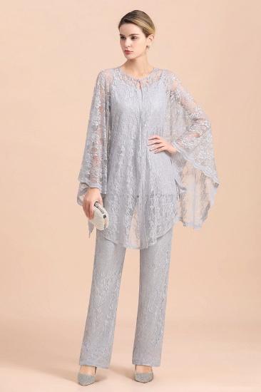 BMbridal Elegant V-Neck Appliques Silver Mother of Bride Jumpsuit with Lace Wraps_5