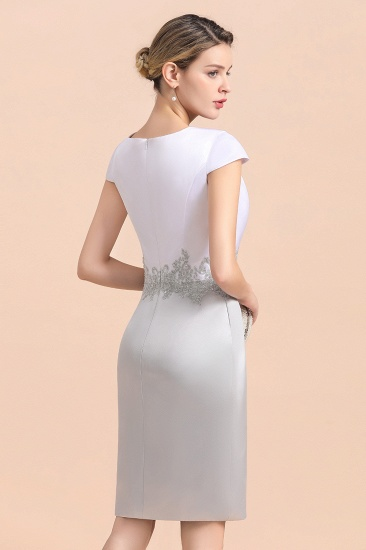 Elegant Silve Short Mother Of the Bride Dress Knee-Length Wedding Party Gowns_12