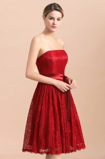 BMbridal Pretty Strapless Red Lace Bridesmaid Dresses Sleeveless Short Wedding Party Dress with Sash_9